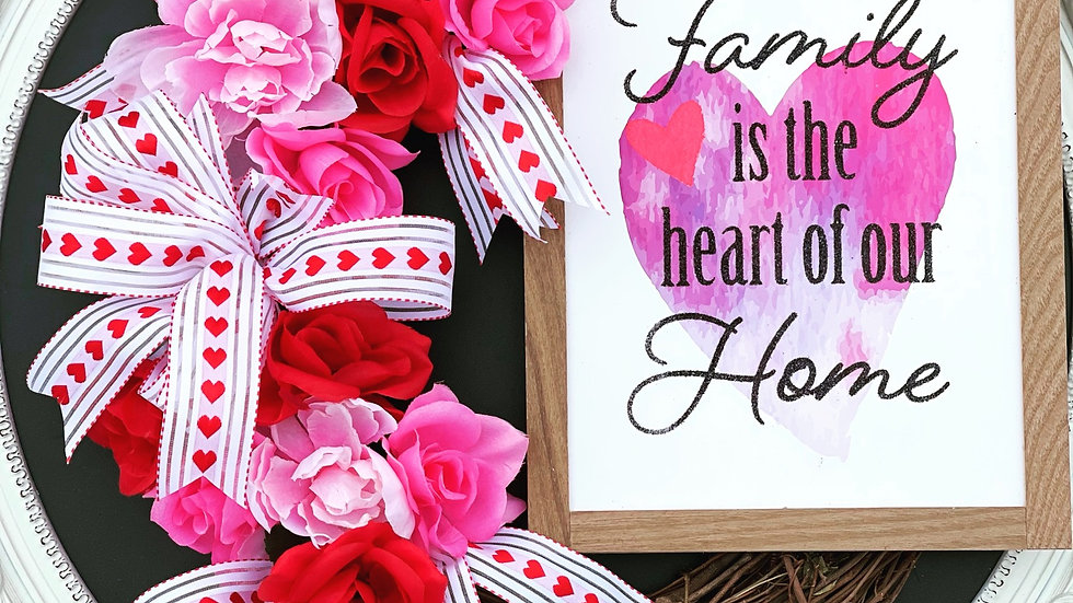 Family is the heart of our home wreath-14inch grapevine base