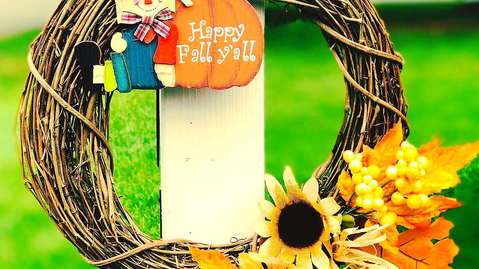 Happy Fall Scarecrow Wreath-12 inch base