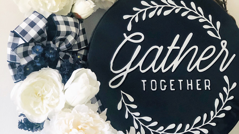 Gather Together Navy and White Wreath-18 inch base
