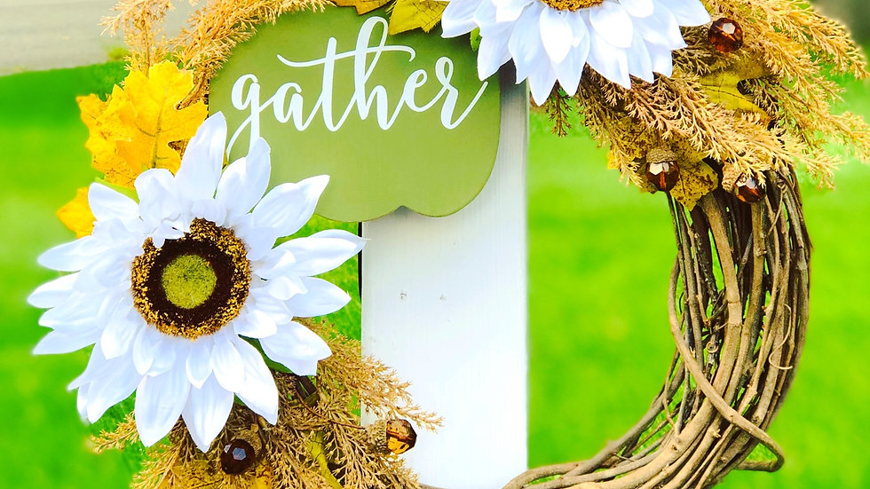 Sunflower Gather Wreath-14 inch base