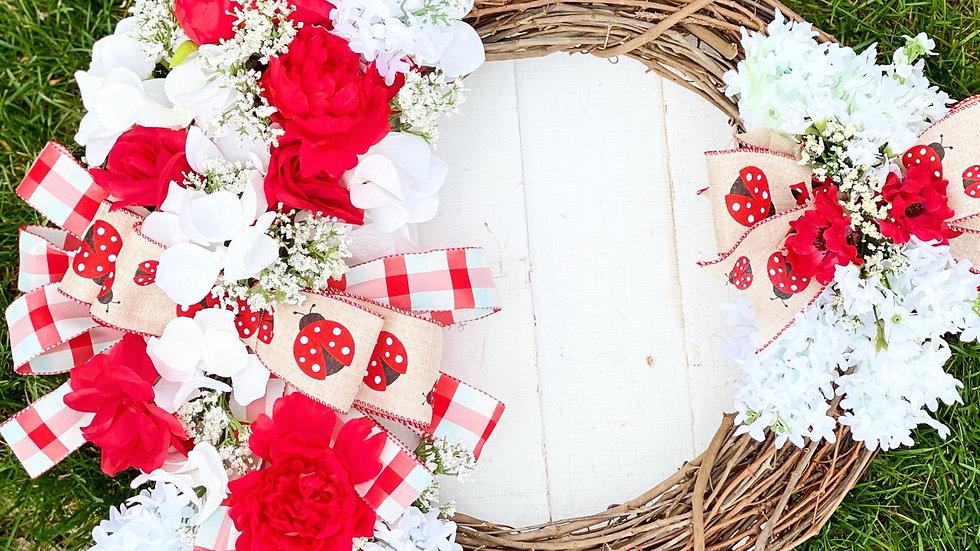 Lady Bug Wreath-18 inch grapevine base