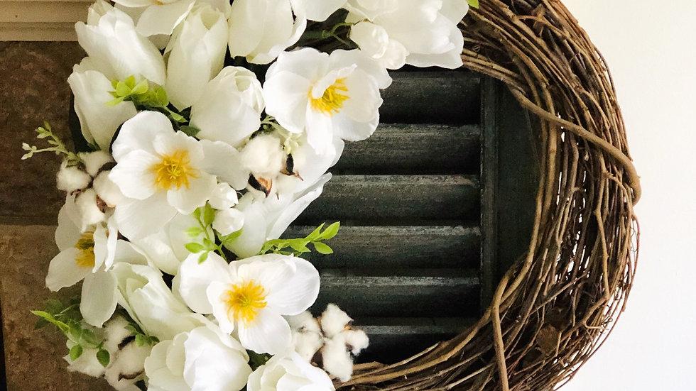Neutral White Flower Wreath-18 inch base