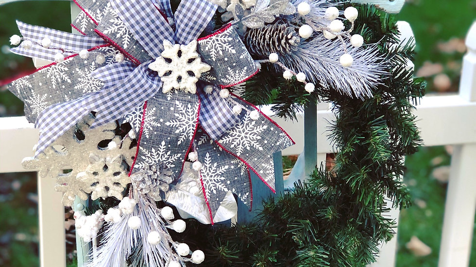 Snowflake Wreath-faux pine base
