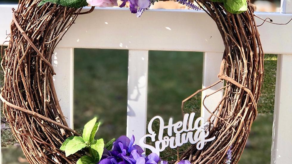 Hello Spring Wreath-18 inch base