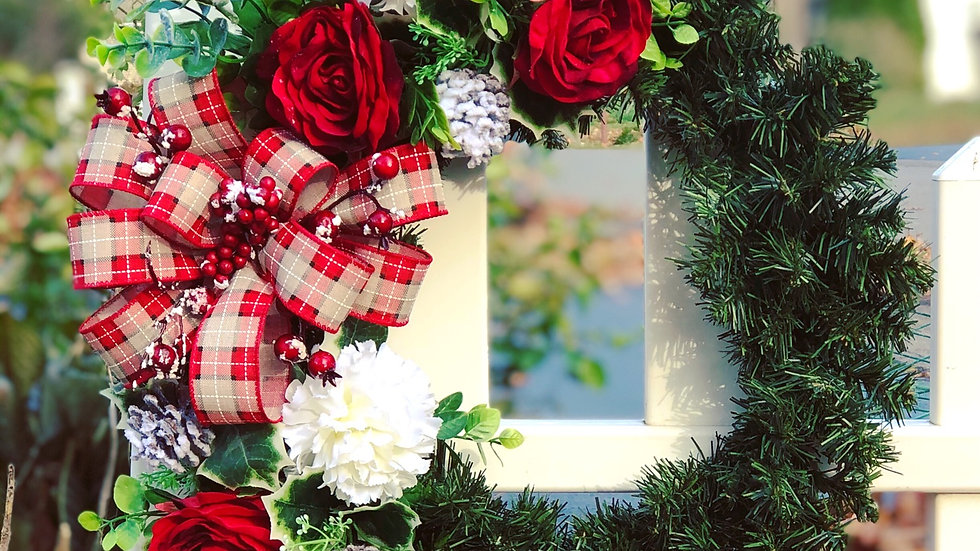 Berries and plaid wreath-14 inch faux pine base