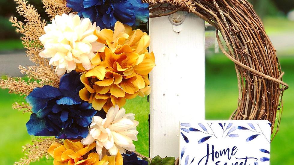 Navy & Mustard Yellow Home Sweet Home Wreath-14 inch base