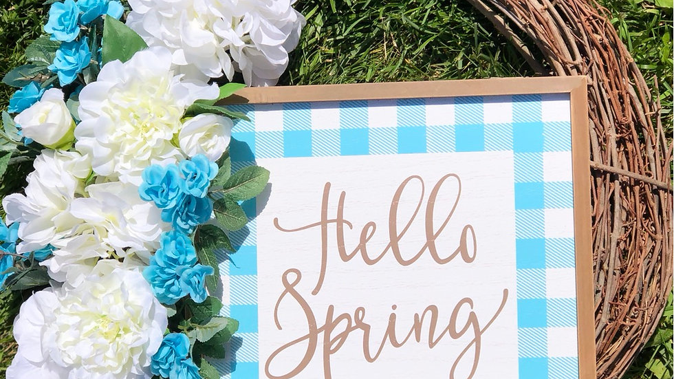 Gingham Hello Spring Wreath-18 inch base