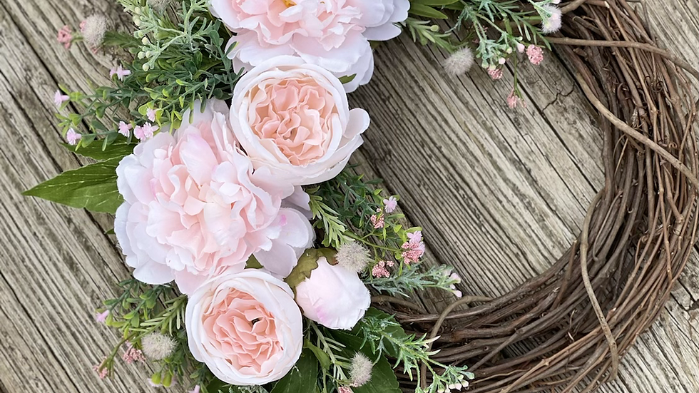 Textures Of Pink Wreath-14 inch grapevine base