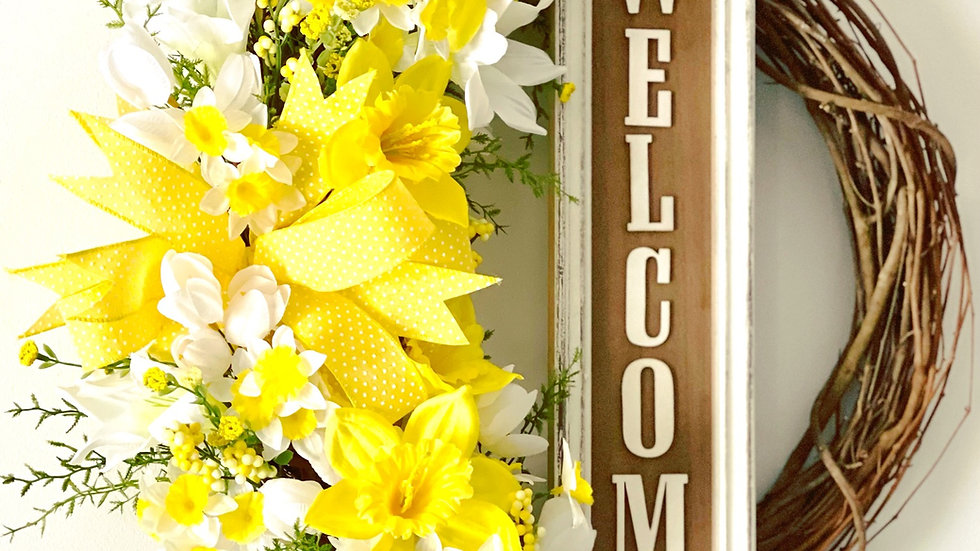 Spring Welcome Wreath-14 inch grapevine base