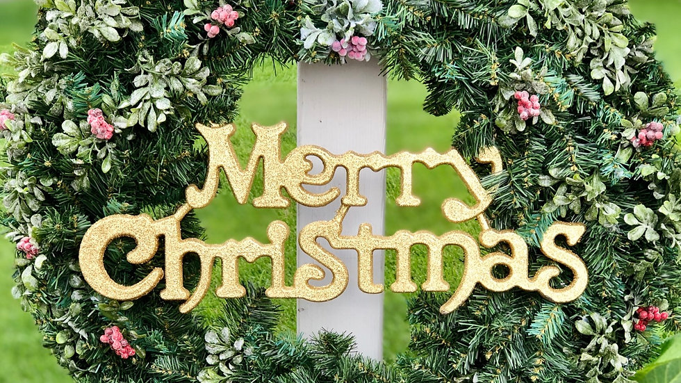 Golden Merry Christmas Wreath-Large