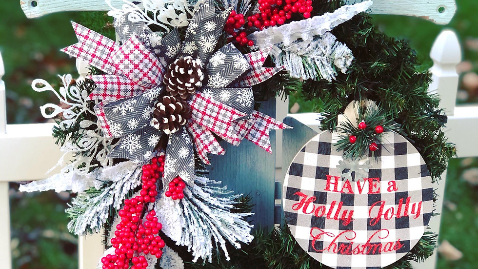 Have a holly jolly Christmas wreath-faux pine base