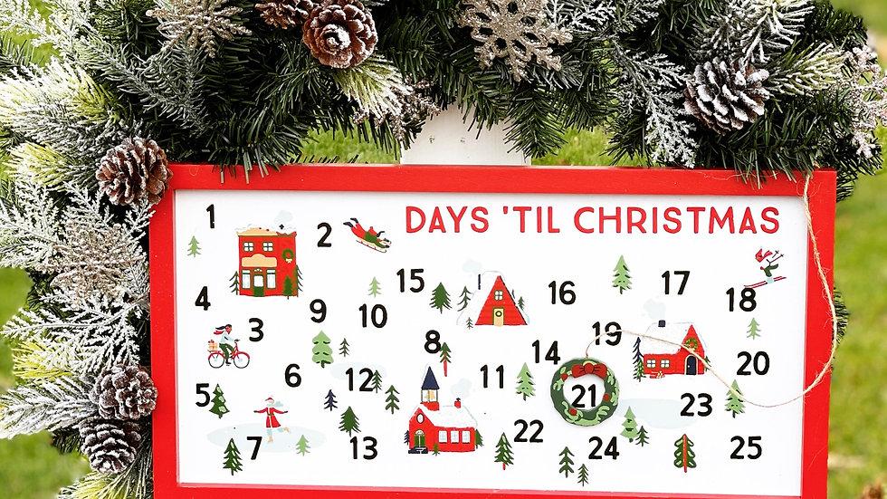 Days till Christmas Wreath-faux pine base