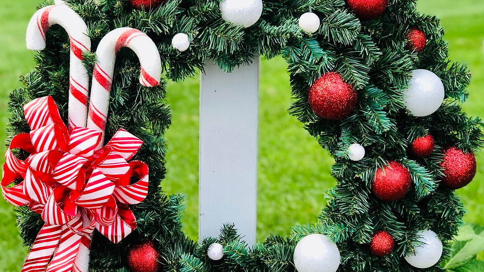 Candy Cane Wreath-Large