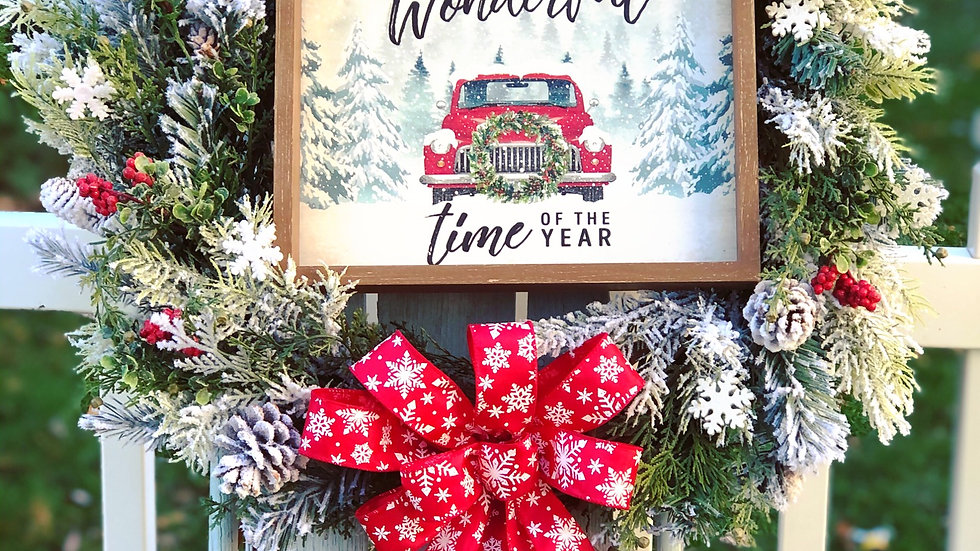 It's the most wonderful time of year wreath-18 inch base
