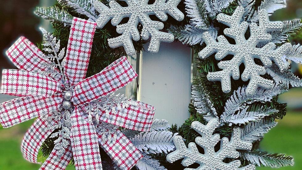 Snowflake plaid ribbon wreath-faux pine base