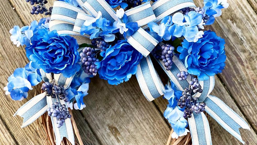 Feeling Blue Wreath-14 inch grapevine base