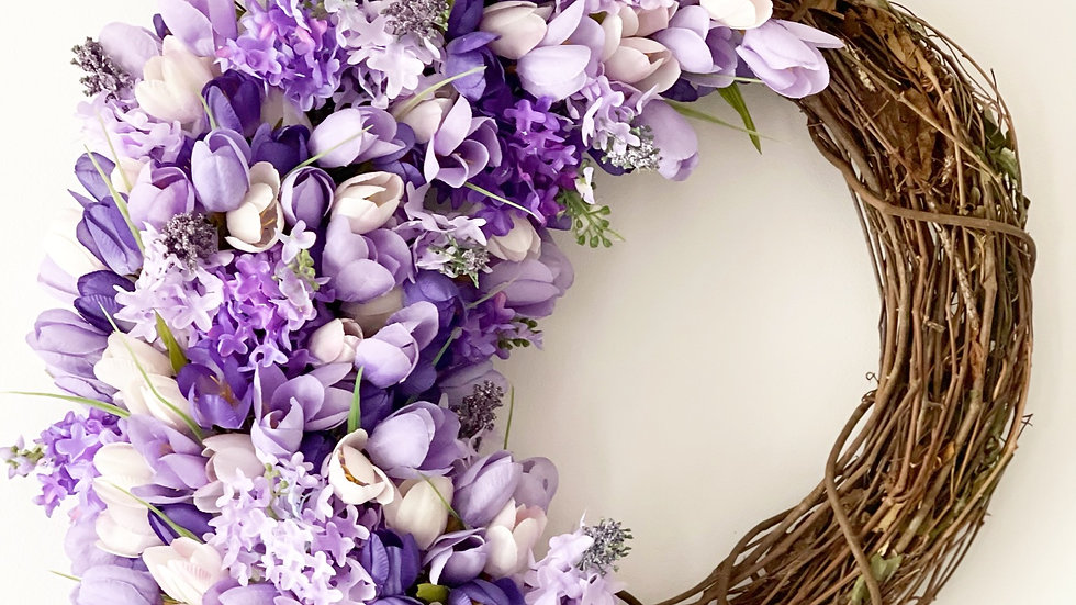 Tulip and Lilac Wreath-18 inch grapevine base