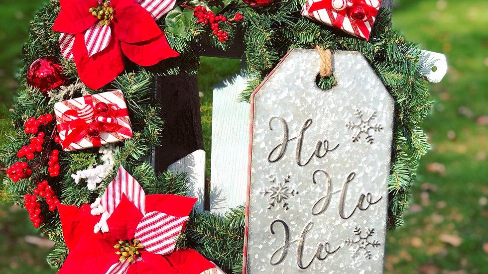 Ho*Ho*Ho peppermint wreath-faux pine base