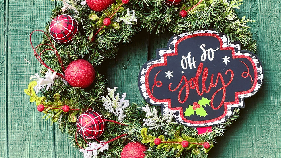 Oh So Jolly Wreath-small faux pine base