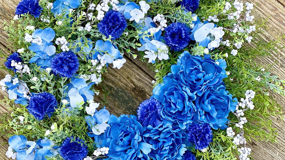 Bountiful Blues Wreath-14 inch grapevine base