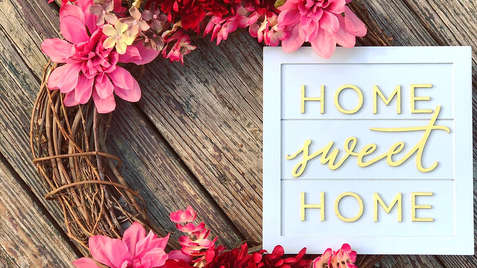 Golden Home Sweet Home Wreath-14 inch base