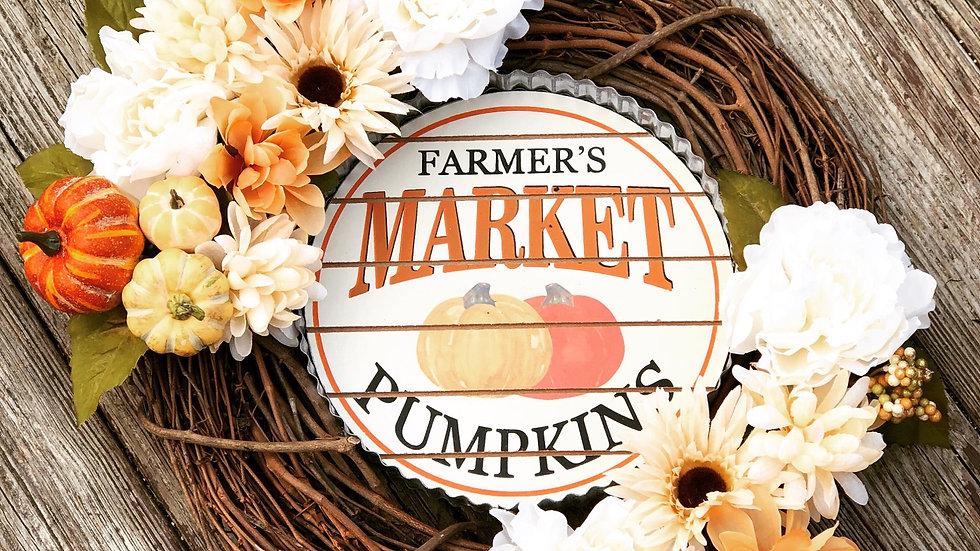 Farmers Market-Pumpkin Wreath-18 inch base
