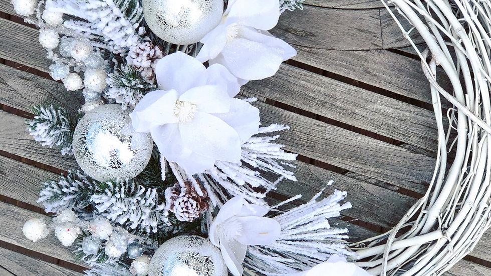 Winter Frost Wreath-18 inch grapevine base