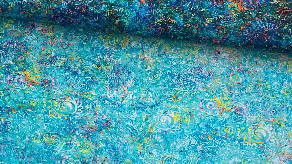 """Webware / Baumwollstoff """" Gypsy Soul """" by QT fabrics in türkis"""