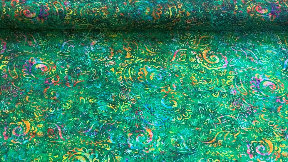 """Webware / Baumwollstoff """" Gypsy Soul """" by QT fabrics in grün"""