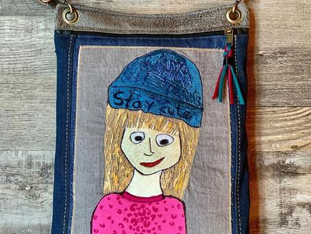 Süße Zeichnung meiner Tochter in eine Stickapplikation umgewandelt und zur eigenen Tasche genäht.