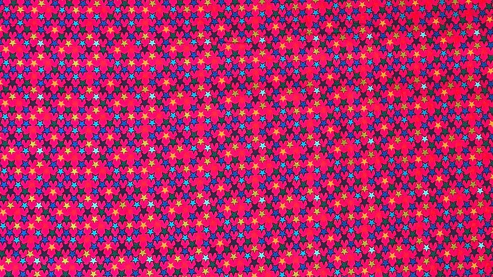 """Webware / Baumwollstoff """" bunte Sterne """" auf pink"""