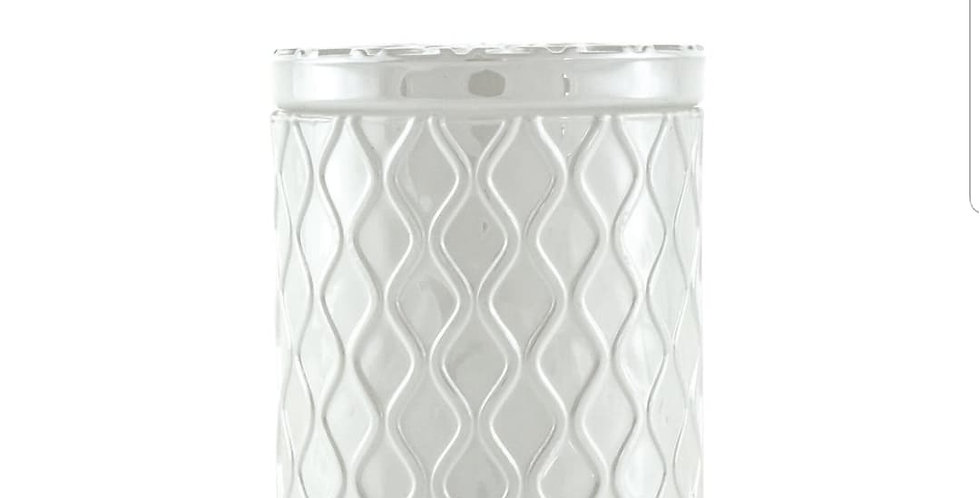 White Glass Candle with Lid