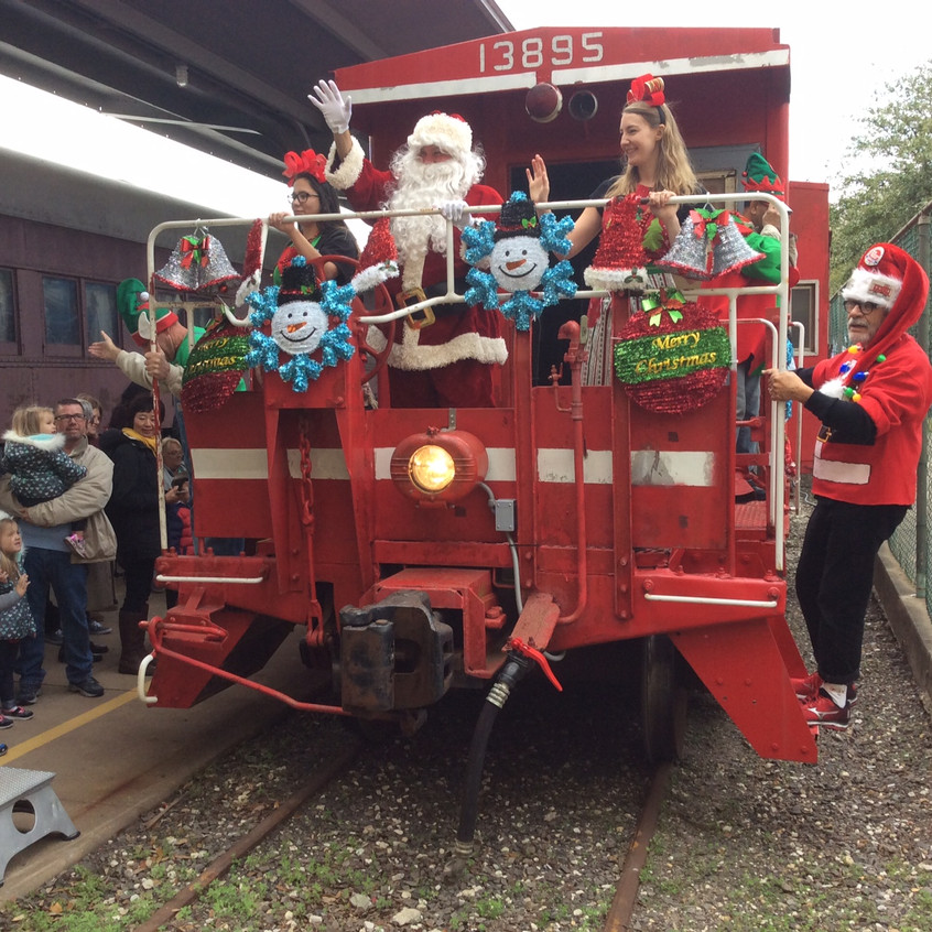 Santa arriving on the train.