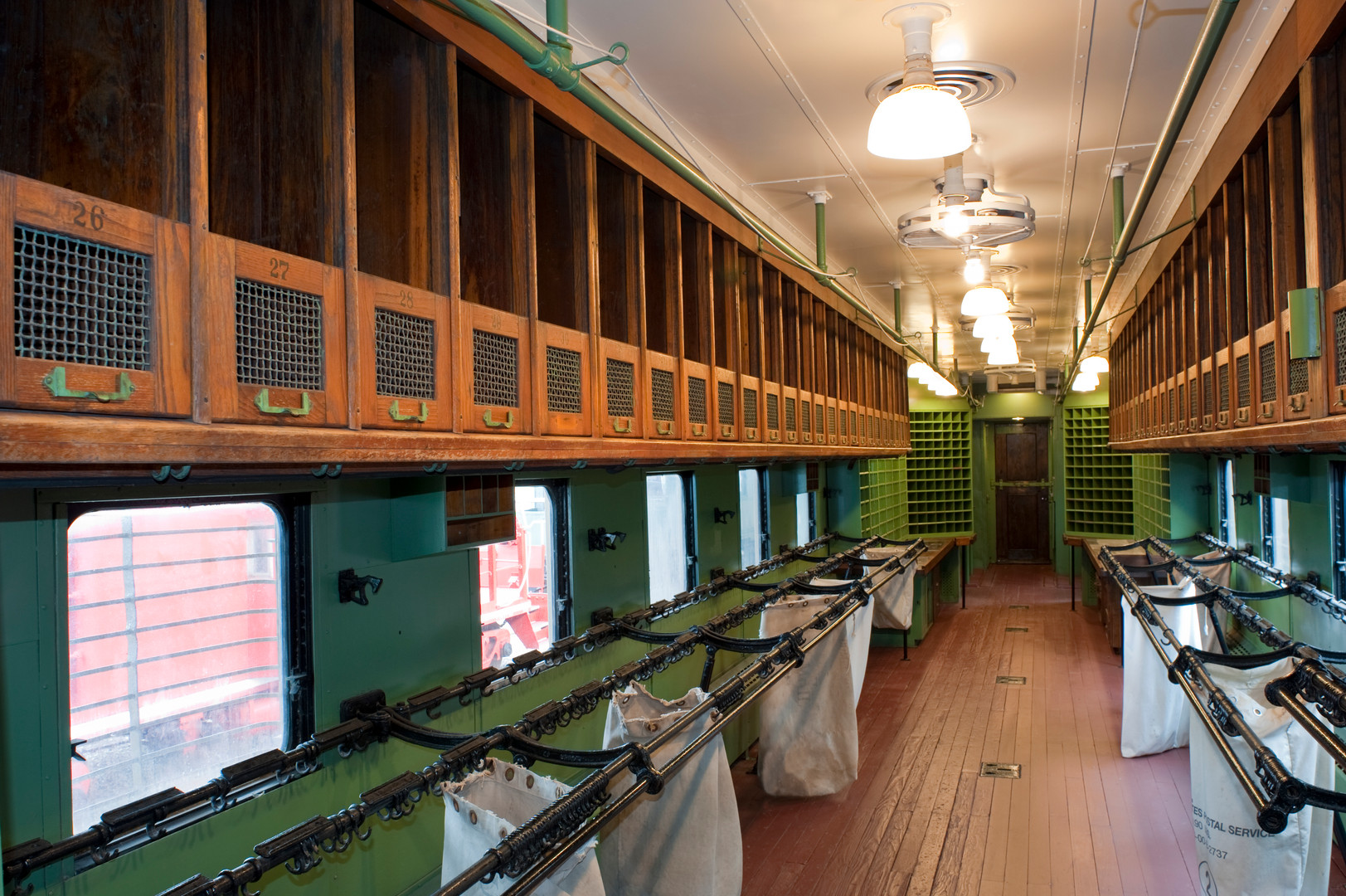 Interior of the restored Illinois Central Rail Post Office Car #100