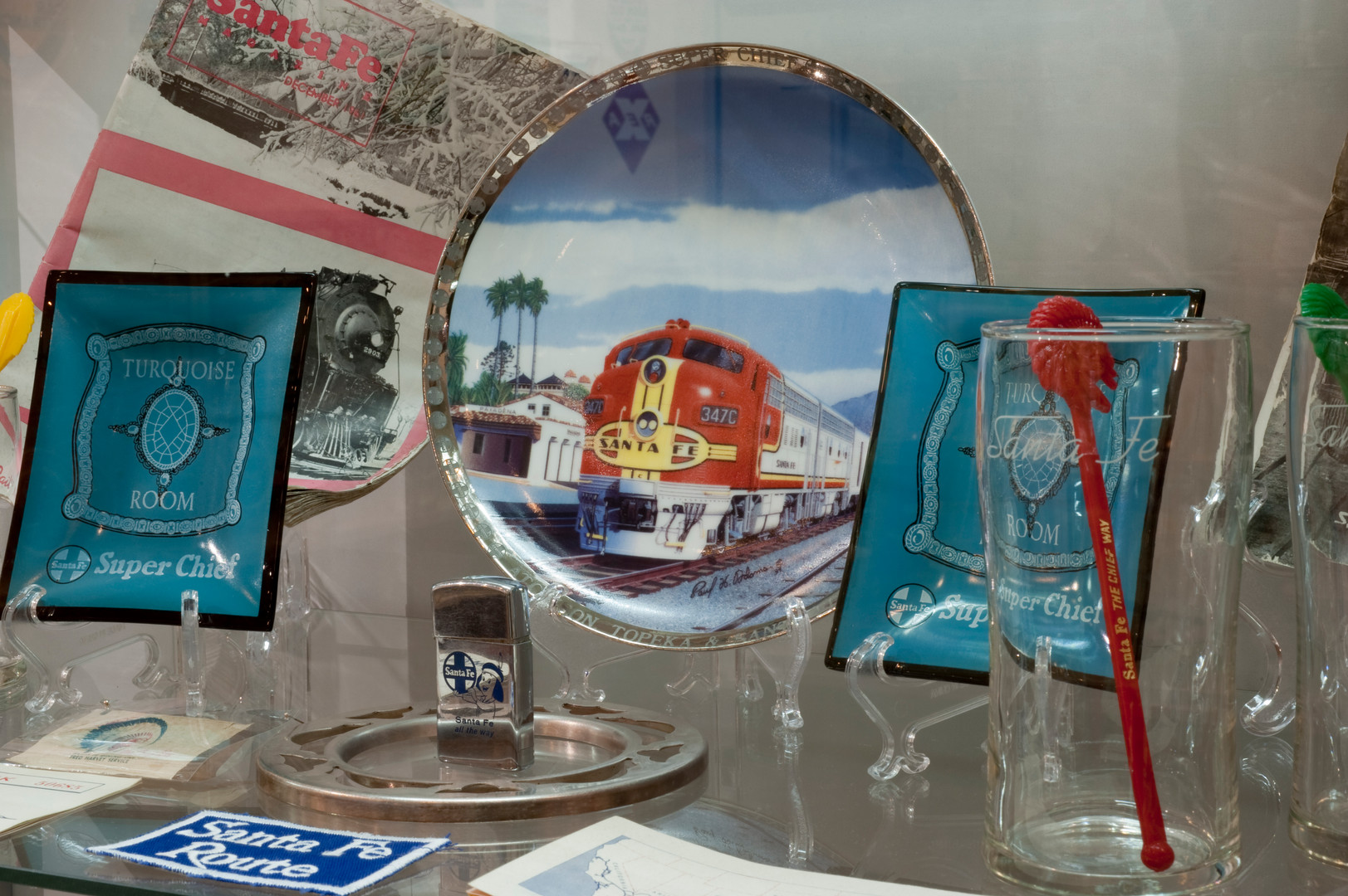 A collection of commemorative and dining car china from the Santa Fe Railway.