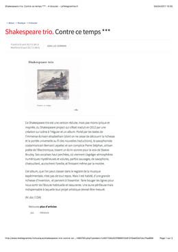 Première critique du disque par Jean-Luc Germain