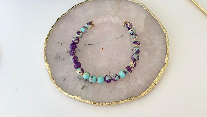 Blue and Purple Impression Jasper & Rose Quartz