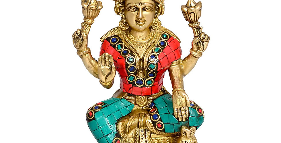 AONA India Four-Armed Goddess Laxmi With OWl- Brass Statue