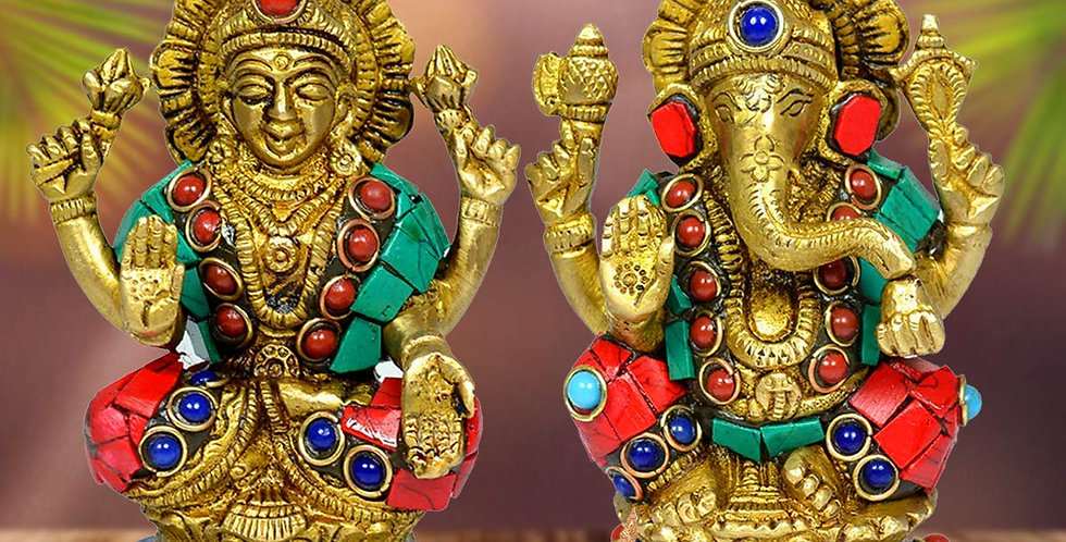 Crystu brass Laxmi Ganesh Idol For Good Luck, Prosperity and Wealth (Diwali)