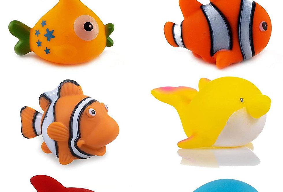 WISHKEY Chu Chu Bath Toys for Baby Aqatic Fish animals Set up of 6