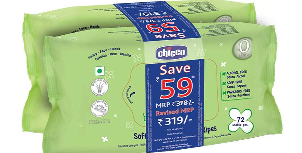 Chicco Bigpack Baby Soft Wipes - 144 Pieces of 2 )