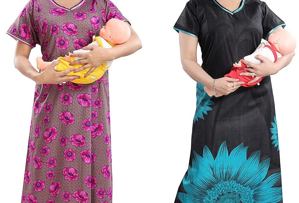 Women's Cotton Feeding/Nighty Smart Combo(Pack of 2)