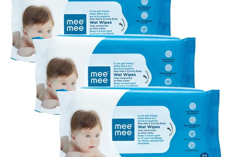 Mee Mee Baby Gentle Wet Wipes ((72 Pc.  pack of 03), Aloer Vera Wet Wipes)