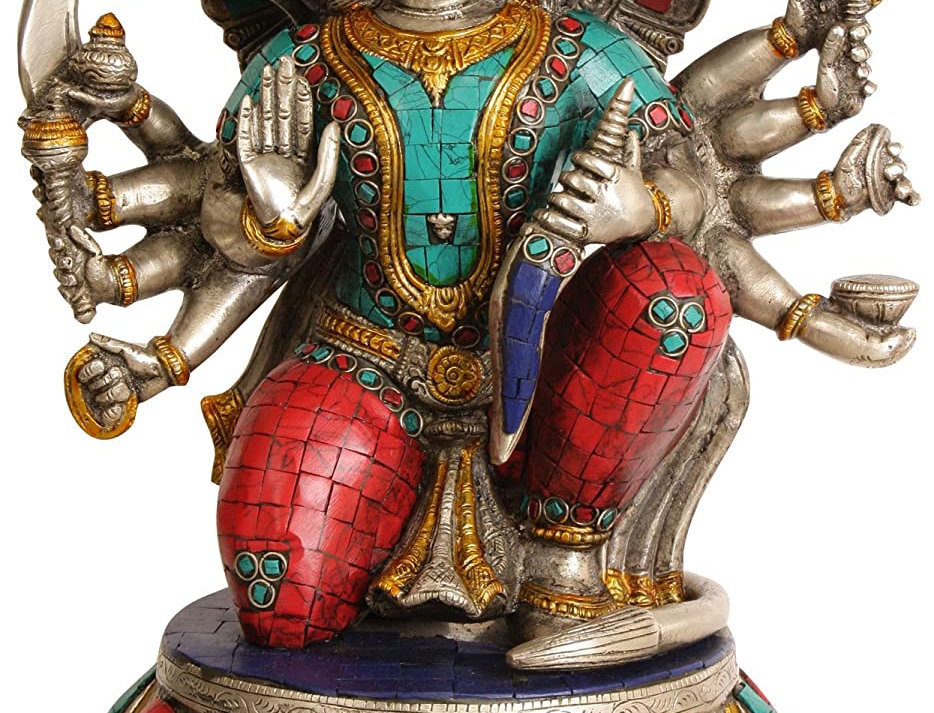 """Idol Collections Brass Five Headed Lord Hanuman Statue, Height 13"""" I Home Decor"""