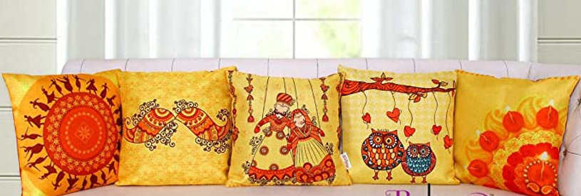 Belive-Me Ethnic Festival MultiColor Traditional  Design Cusion Cover Set of 5