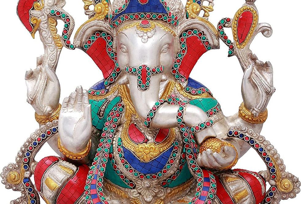 Exotic India Ashirwad Ganesha -Brass with Inlay Statue