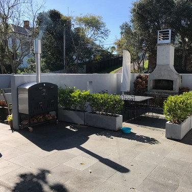 Large Oven on trolley in outdoor garden