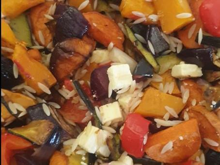 Roast Vegetables with Risoni & Feta