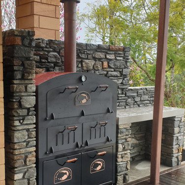 Copper built into a stone outdoor area