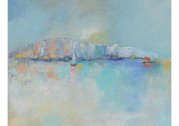 Dreaming cliff Huile sur toile 30 x 30 cm Un paysage marin évanescent et insaisissable comme une bouteille jetée à la mer.